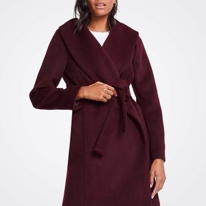 new A Taylor Shawl Collar Wrap Coat in Plum Raisin